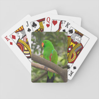 Green Parrot Portrait Playing Cards