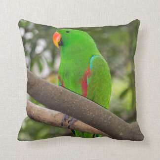 Green Parrot Portrait Throw Pillow