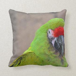 Green parrot red head bird image c throw pillow
