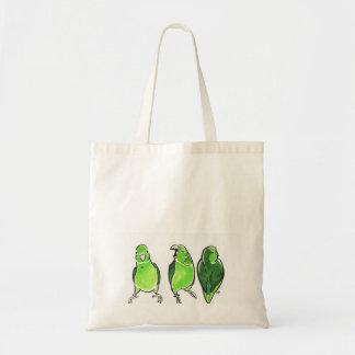 Green Parrot Trio Budget Tote Bag