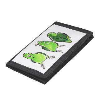 Green Parrot Trio Tri-fold Wallets
