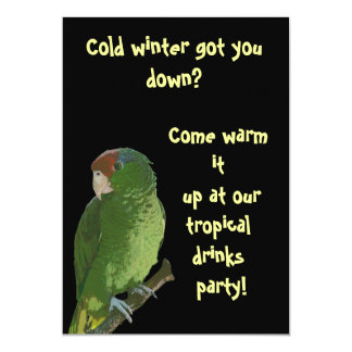"Green Parrot Tropical Drinks 5"" X 7"" Invitation Card"