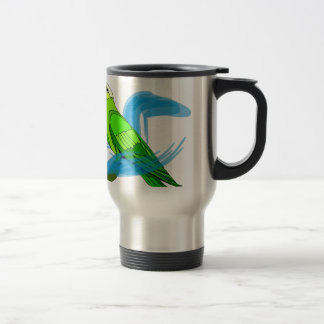 Green Parrot with Blue Swirls 15 Oz Stainless Steel Travel Mug