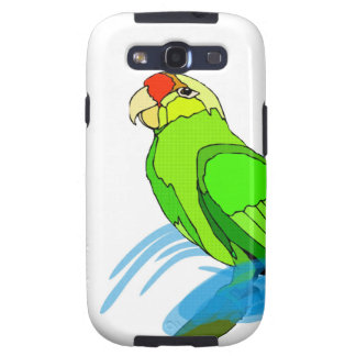 Green Parrot with Blue Swirls Galaxy SIII Case