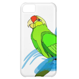 Green Parrot with Blue Swirls iPhone 5C Covers