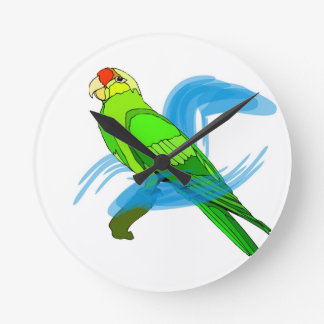 Green Parrot with Blue Swirls Round Clocks