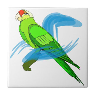 Green Parrot with Blue Swirls Tiles