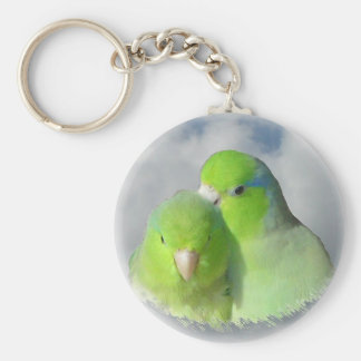 Green parrotlet pair keychain