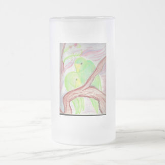 Green Parrots Frosted Beer Mug