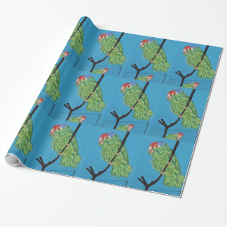 green parrots wrapping paper