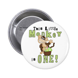 Green Party Monkey 1st Birthday Tshirts and Gifts 2 Inch Round Button