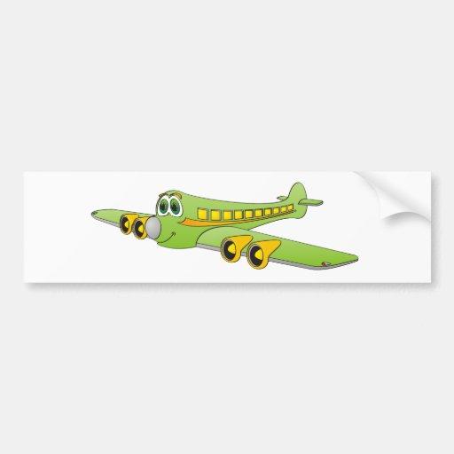 Green Passenger Jet Cartoon Bumper Sticker