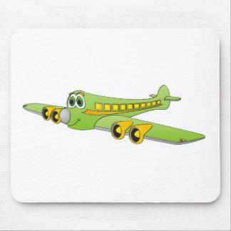 Green Passenger Jet Cartoon Mouse Pad