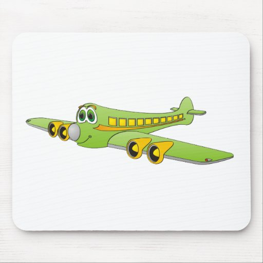 Green Passenger Jet Cartoon Mousepads