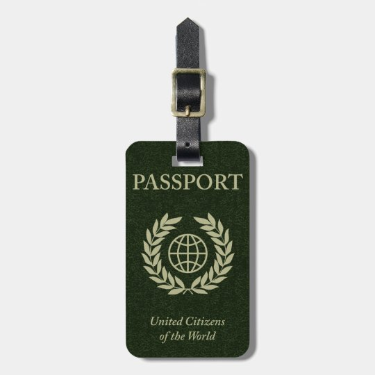 green passport luggage tag
