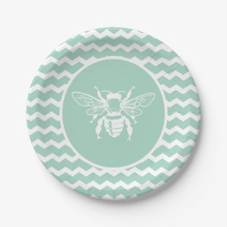 Green Pastel Chevron White Bee 7 Inch Paper Plate