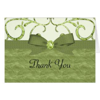 Green Pastel & Diamond Swirls Bow & Ribbon Wedding Card