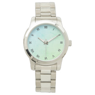 Green Pastel Ombre Glitter Look Roman Numerls Watch