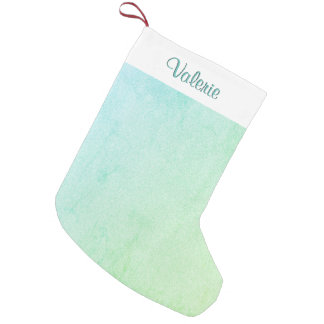 Green Pastel Ombre Glitter Small Christmas Stocking