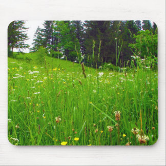 Green pasture and flowers mouse pad