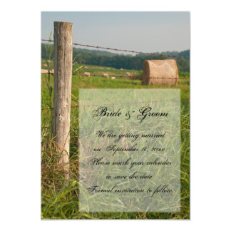 """Green Pastures Country Wedding Save the Date 5"""" X 7"""" Invitation Card"""