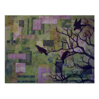 Green Patchwork Ravens mixed media postcard