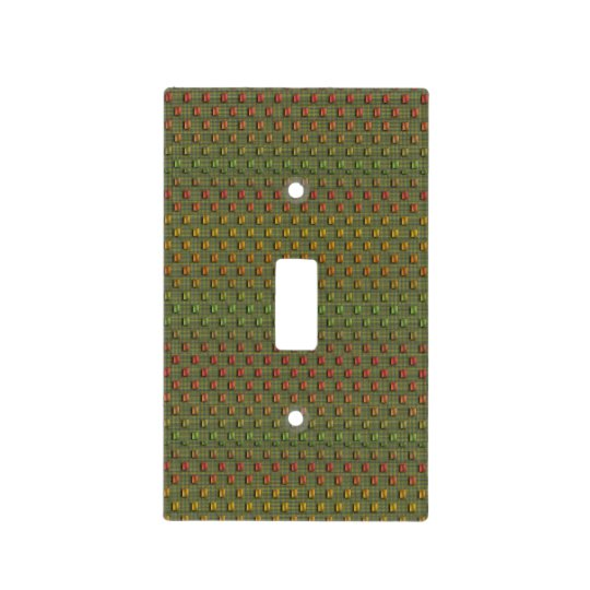 Green patter light switch cover - Diamonds