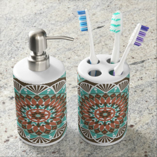 green pattern soap dispenser and toothbrush holder