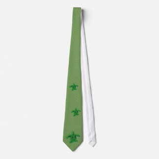 Green Pattern Watercolour Turtle Tie