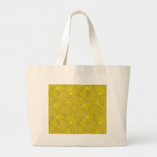 Green pattern with pumpkins large tote bag