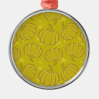 Green pattern with pumpkins Silver-Colored round ornament