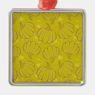 Green pattern with pumpkins Silver-Colored square ornament