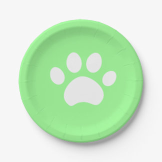 Green Paw Print 4 a Purrfect Day Paper Plate