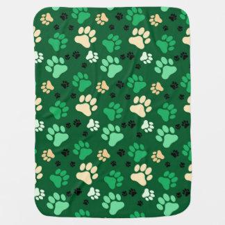 Green Paw Print Dog Crate Blanket