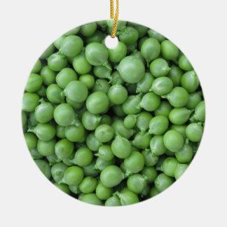 Green pea background . Texture of ripe green peas Ceramic Ornament