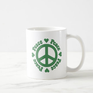 Green Peace and Love Coffee Mug