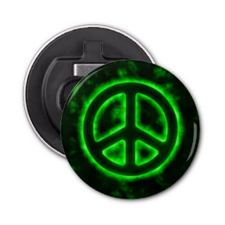 Green Peace Sign Bottle Opener