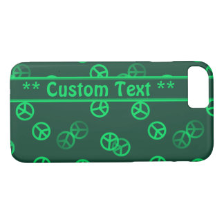 Green Peace Sign Pattern w/ Custom Text iPhone 7 Case