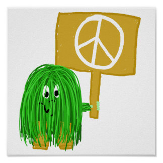 Green peace sign poster