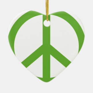 Green Peace Sign Symbol Ceramic Heart Ornament