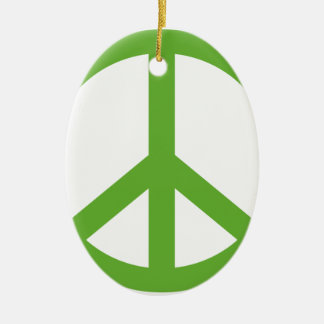 Green Peace Sign Symbol Ceramic Oval Ornament