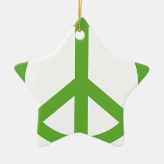 Green Peace Sign Symbol Ceramic Star Ornament