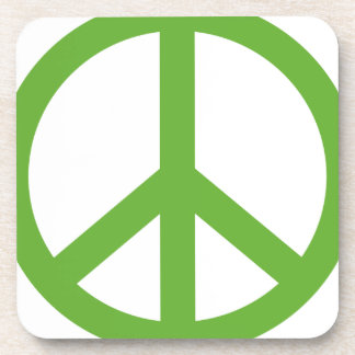 Green Peace Sign Symbol Coaster
