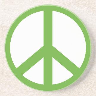 Green Peace Sign Symbol Coaster