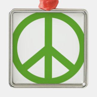 Green Peace Sign Symbol Metal Ornament