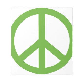 Green Peace Sign Symbol Notepad