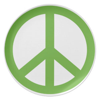 Green Peace Sign Symbol Plate