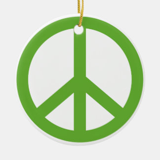 Green Peace Sign Symbol Round Ceramic Ornament