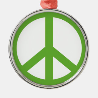 Green Peace Sign Symbol Silver-Colored Round Ornament