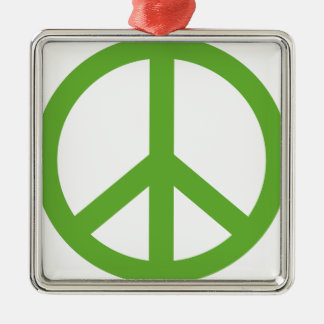 Green Peace Sign Symbol Silver-Colored Square Ornament
